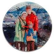 Cam Rodaj Duvar Delikli Saat 20 x 20cm + baskı